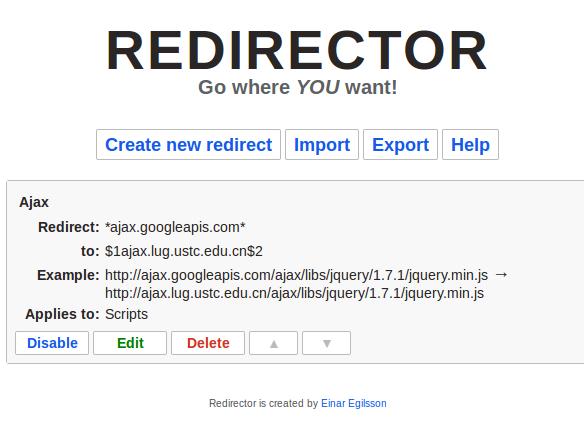 使用Redirector插件解决网站引用文件失效的问题(如googleapis公共库加载的问题) 帮助中心 第3张