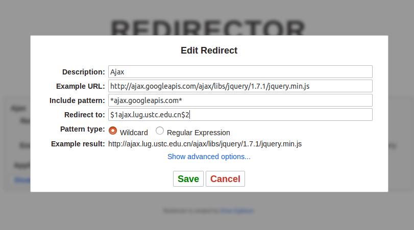 使用Redirector插件解决网站引用文件失效的问题(如googleapis公共库加载的问题) 帮助中心 第5张