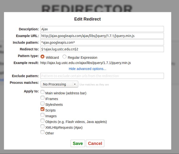 使用Redirector插件解决网站引用文件失效的问题(如googleapis公共库加载的问题) 帮助中心 第6张